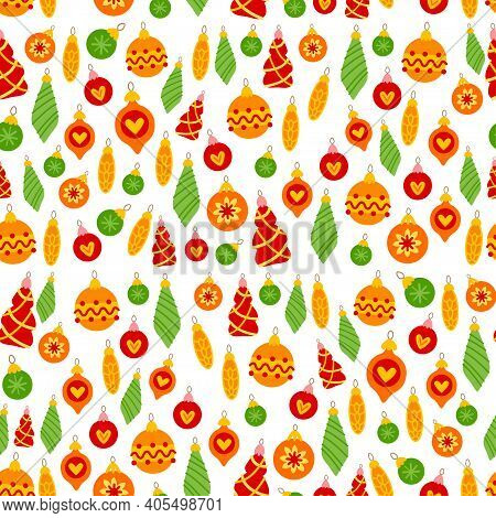 Cartoon Pattern With Christmas Ornaments Hanging. Seamless With Colorful For Present Box. Vector Hol