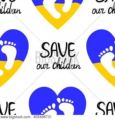 Child Protection And Flag Ukraine Heart Icon Isolated On White Background. Save Our Children Text. C