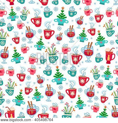 Christmas Pattern With Cartoon Winter Hot Drinks. Seamless With Chocolate Cocktail And Sweets. Xmas