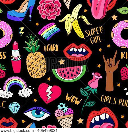 Seamless Pattern With Hand Drawn Girly Doodles. Feminist Movement Fashion Patch Badges. Repeating Ba