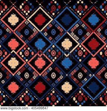 Seamless Ethnic Zigzag Chevron Tribal Ikat Pattern. Hand Drawn Colorful Geometric Background. Stripe