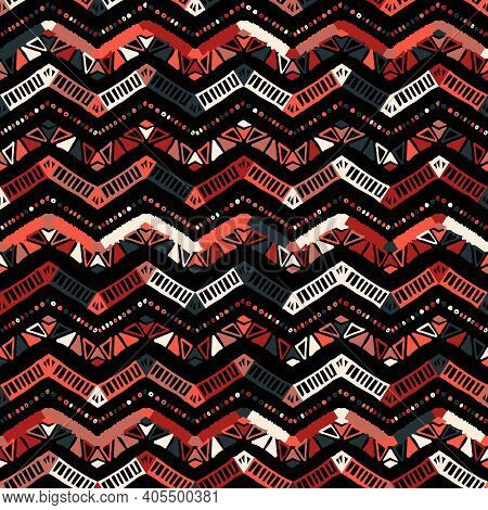 Abstract Colorful Coral Zigzag Pattern For Cover Design. Retro Chevron Vector Background. Geometric