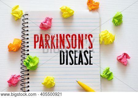 Parkinson's Disease Text On Paper