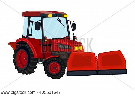 Tractor With Snowplow Isolated On White Background. Red Snowplow Truck. Winter Snow Removal Machine.