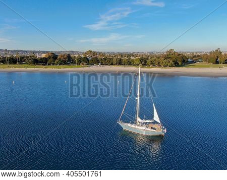 Aerial View Of Small Sail Boats In The Mission Bay Of San Diego, California, Usa. Small Sailing Ship