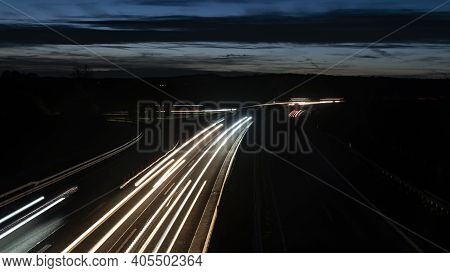 Long Exposure From Autobahn In Germany At Night