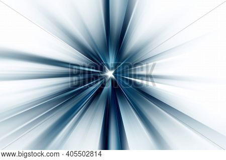 Abstract Surface Of Blur Radial Zoom In Gray And Blue Tones On A White Background. Abstract Bright B