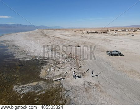 Aerial View Of People At Bombay Beach And The Southern California Salton Sea Landscape In California