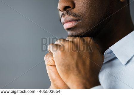 African American Man Praying And Seeking God