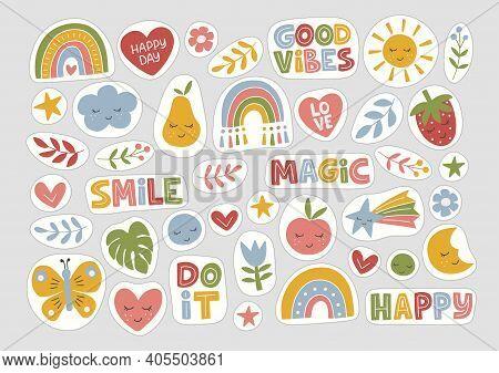 Stickers Flat Vector Illustration. Trendy Hand Drawn Rainbow, Inspirational Quotes, Plant, Sun, Frui