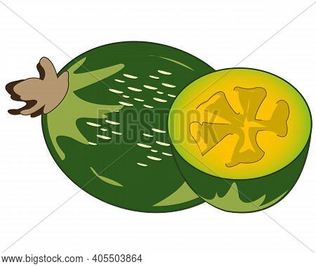 Exotic Feijoa Fruit On White Background Is Insulated