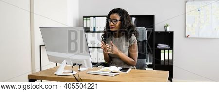 Online Video Conference Elearning Call On Laptop