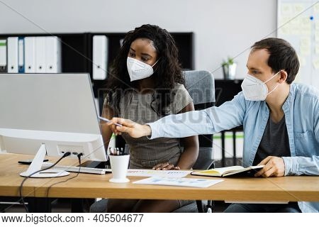 Office Business Employee Using Face Mask And Social Distancing