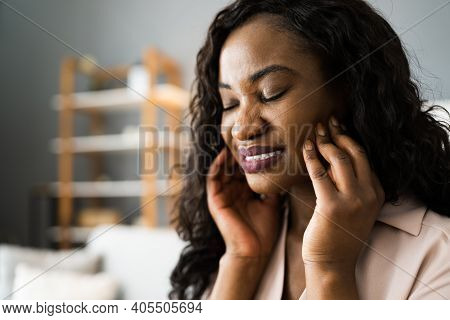 African American Woman With Sore Tooth And Decay. Toothache