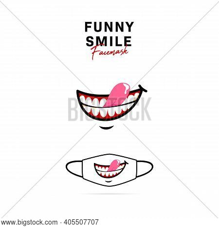 Face Mask Vector Design With Funny Creepy Open Smile With Tongue Out And Teeth Illustration