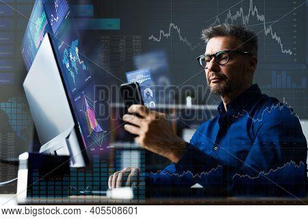 Financial Data Analyst Using Mobile Analytics On Smartphone