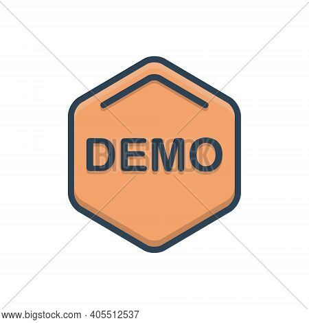Color Illustration Icon For Demo Exhibition Demonstration