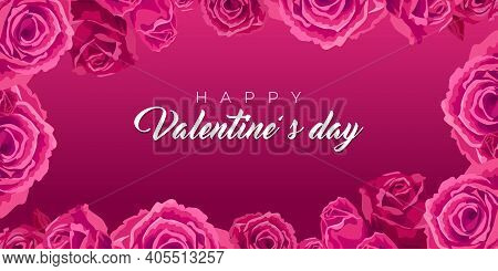 Happy Valentines Day. Banner With Roses. Vector Illustration Valentine S Day, Cards With. Frame With