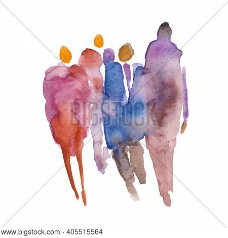 Vector. Color Spot With Watercolors In The Form Of A Group Of People. Watercolor Hand Painted Silhou