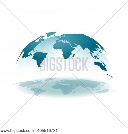 Worl Map 3d - Spherical Projection Of Earth Continets With Transparent Hemisphere And Reflection Sha