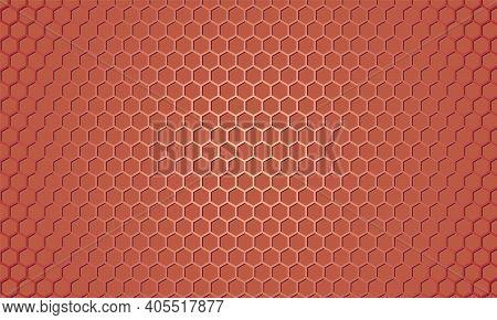 Red Carbon Fiber Texture. Light Red Metallic Hexagon Textured Steel Background. Web Design Illustrat