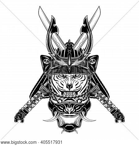 Vector Image Of A Tiger Of The Samurai. Katana. Helmet, Mask And Sword Japanese Mythical Soldier. Il