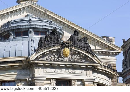 Dresden, Germany - September 23, 2020 : Facade Of Dresden Academy Of Fine Arts Situated On The River