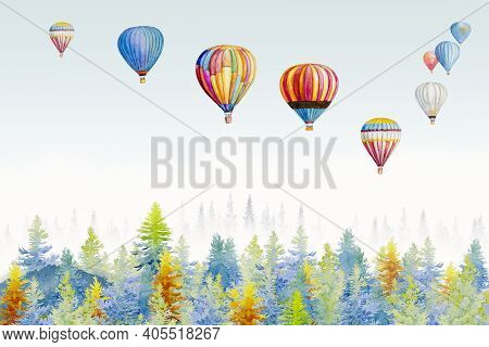 Watercolor Painting Colorful Ballooning On Forest Mountain White Blue Background , Nature Landscape