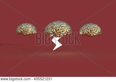 Three Brains One With Lightening Stroke 3d Render