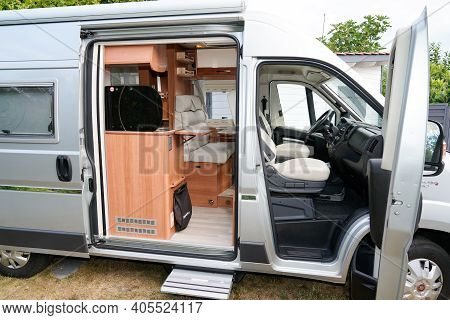 Bordeaux , Aquitaine  France - 01 24 2021 : Fiat Ducato Campereve Brand Rv Holiday Grey Motorhome Wi