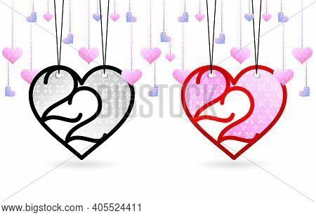 2.2 Sale, 2.2 Month Of Love Sale. Tag Label 2 2 Love, Heart Shaped Balloons For Poster Or Flyer Desi