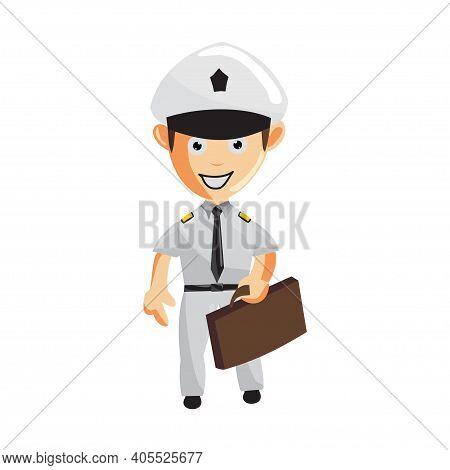 Airplane Pilot Bring Bag Cartoon Character Aircraft Captain In Uniform
