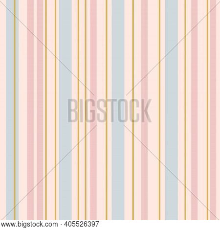Soft Colorful Seamless Stripes Pattern For Kids. Vertical Stripes. Simple Vector Texture With Thin A