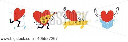 Set Of Cheerful Loving Hearts. Hand-drawn Cartoon Hearts Rush To Meet Their Loved Ones. Vector Stock