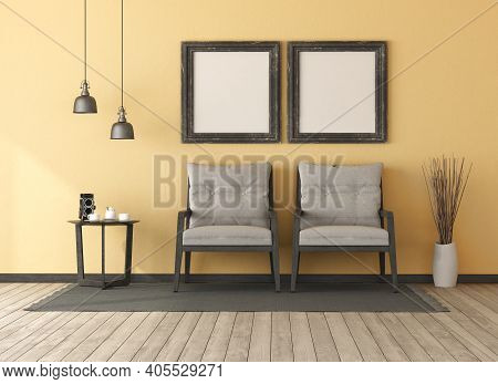 Retro Yellow Living Room With Two Wooden Armchairs.coffee Table And Blank Picture Frame - 3d Renderi