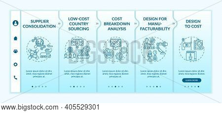 Cost Reduction Strategies Onboarding Vector Template. Design For , Anufacturability. Responsive Mobi
