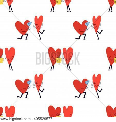 Seamless Pattern With Cute Hearts. Lovers Give Their Chosen One A Gift And A Diamond. Vector Stock I