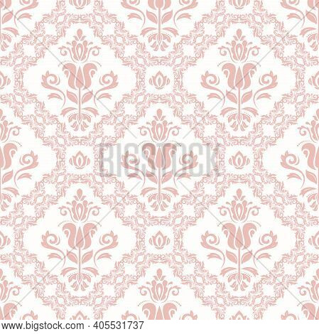 Orient Classic Pink Pattern. Seamless Abstract Background With Vintage Elements. Orient Background.