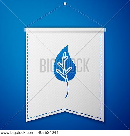 Blue Leaf Icon Isolated On Blue Background. Leaves Sign. Fresh Natural Product Symbol. White Pennant