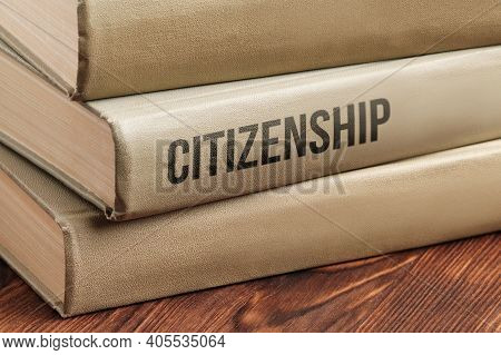 Citizenship Subject Book Concept On A Wooden Table For Learning