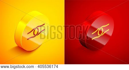 Isometric Rope Tied In A Knot Icon Isolated On Orange And Red Background. Circle Button. Vector