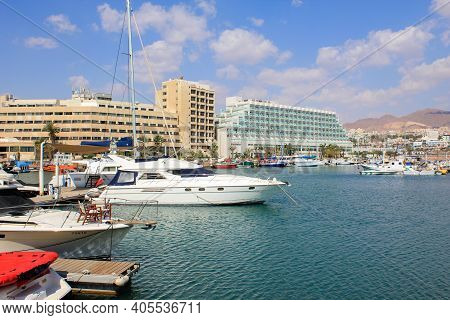 Eilat, Israel - May 14, 2011: This Is A Marina In An Inner Artificial Lagoon.