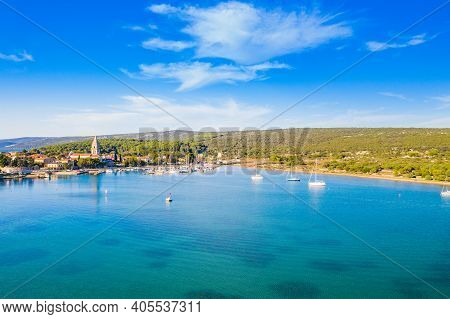 Aerial View Of Town Of Osor On The Island Of Cres, Adriatic Coastline In Croatia