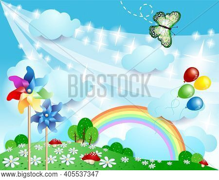 Spring Background With Pinwheels And Butterfly. Vector Eps10
