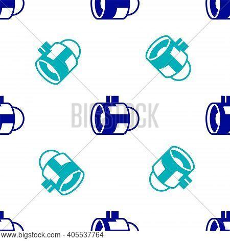 Blue Jet Engine Turbine Icon Isolated Seamless Pattern On White Background. Plane Turbine. Airplane