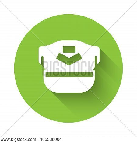 White Pilot Hat Icon Isolated With Long Shadow. Green Circle Button. Vector