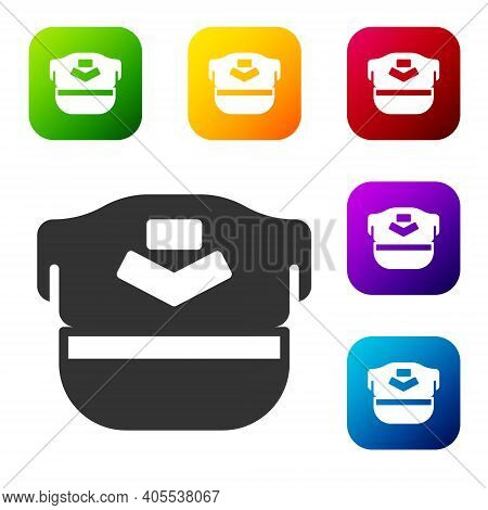 Black Pilot Hat Icon Isolated On White Background. Set Icons In Color Square Buttons. Vector