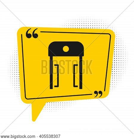 Black Metal Detector In Airport Icon Isolated On White Background. Airport Security Guard On Metal D