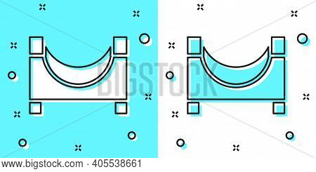 Black Line Skate Park Icon Isolated On Green And White Background. Set Of Ramp, Roller, Stairs For A