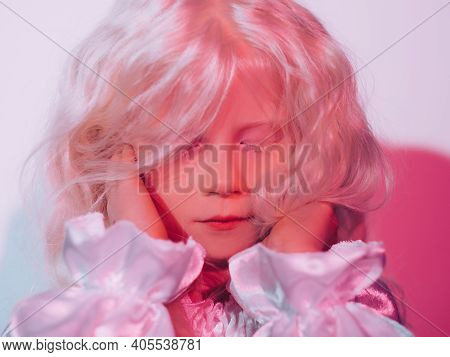 Sweet Girl Portrait. Child Dream. Imaginary World. Adorable Peaceful Cute Blonde Little Kid Face Wit